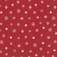 Servietten 33x33 cm - LITTLE JOY creme-rot