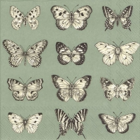 Servietten 33x33 cm - BUTTERFLIES green