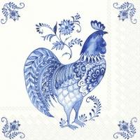Servietten 33x33 cm - DECORATIVE ROOSTER white blue