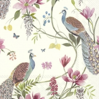 Servietten 33x33 cm - PEACOCK GARDEN cream