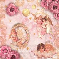 Servietten 33x33 cm - ROMANTIC ANGELS rose