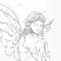 Servietten 33x33 cm - LIKE AN ANGEL white silver
