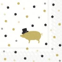 Servietten 33x33 cm - MR PIG gold