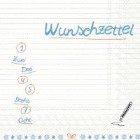Servietten 33x33 cm - WUNSCHZETTEL blue