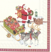 Servietten 33x33 cm - SANTA ON THE ROOF (V&B)