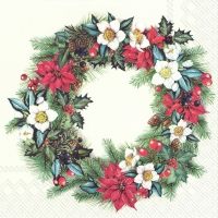 Servietten 33x33 cm - CHRISTMASSY WREATH cream