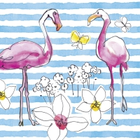 Servietten 33x33 cm - FLAMINGO ROAD blue
