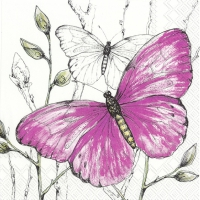 Servietten 33x33 cm - COLOURFUL BUTTERFLIES pink