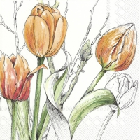 Servietten 33x33 cm - COLOURFUL TULIPS orange