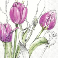 Servietten 33x33 cm - COLOURFUL TULIPS pink