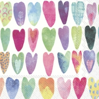 Servietten 33x33 cm - RAINBOW HEARTS