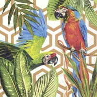 Servietten 33x33 cm - TROPICAL PARROTS copper