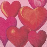 Servietten 33x33 cm - FUNNY HEARTS pink