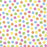 Servietten 33x33 cm - COLOURFUL DOTS yellow orange