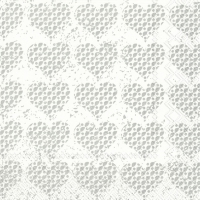 Servietten 33x33 cm - FANCY HEARTS silver