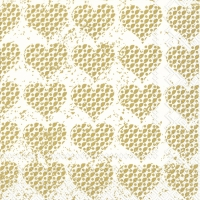 Servietten 33x33 cm - FANCY HEARTS gold