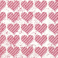Servietten 33x33 cm - FANCY HEARTS red