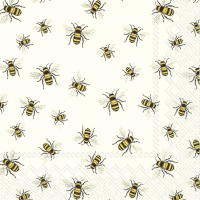 Servietten 33x33 cm - LOVELY BEES white
