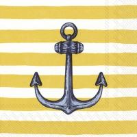 Servietten 33x33 cm - SAILOR´S ANCHOR yellow
