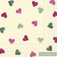 Servietten 33x33 cm - PINK AND GREEN HEARTS