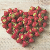 Servietten 33x33 cm - HEART OF STRAWBERRIES