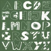 Servietten 33x33 cm - ALPHABET ABC green
