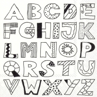 Servietten 33x33 cm - ALPHABET ABC white black