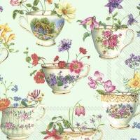 Servietten 33x33 cm - CUP OF FLOWERS light green