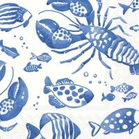 Servietten 33x33 cm - CATCH OF THE DAY white blue
