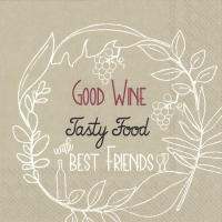 Servietten 33x33 cm - GOOD WINE TASTY FOOD linen