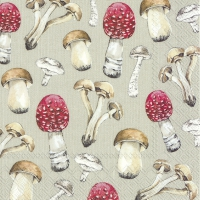 Servietten 33x33 cm - COUNTRY MUSHROOMS linen