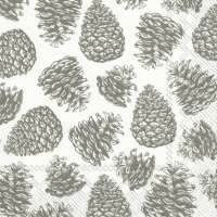 Servietten 33x33 cm - MAGIC PINE white