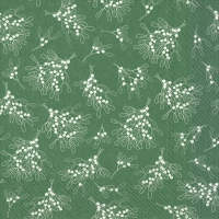 Servietten 33x33 cm - MISTLETOE ALLOVER green