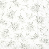 Servietten 33x33 cm - MISTLETOE ALLOVER white silver
