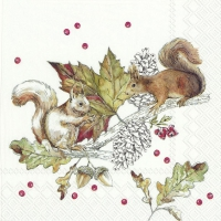 Servietten 33x33 cm - SQUIRRELS AND BERRIES