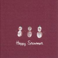 Servietten 33x33 cm - HAPPY SNOWMEN red