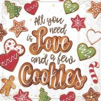 Servietten 33x33 cm - LOVE AND COOKIES
