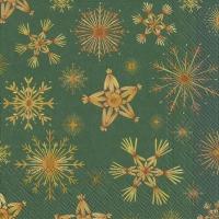 Servietten 33x33 cm - STRAW STARS green