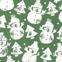 Servietten 33x33 cm - SNOWMAN STAMP green