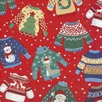 Servietten 33x33 cm - UGLY SWEATER red