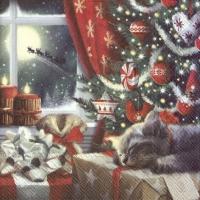 Servietten 33x33 cm - CAT IS WAITING FOR CHRISTMAS
