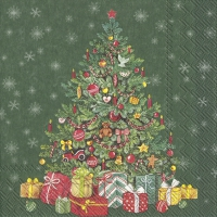 Servietten 33x33 cm - FESTIVE CHRISTMAS TREE green