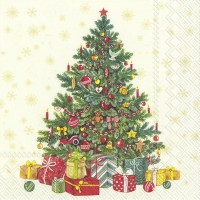 Servietten 33x33 cm - FESTIVE CHRISTMAS TREE cream