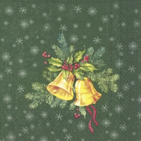 Servietten 33x33 cm - FESTIVE CHRISTMAS BELLS green