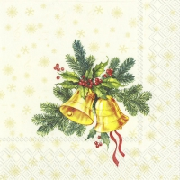 Servietten 33x33 cm - FESTIVE CHRISTMAS BELLS cream