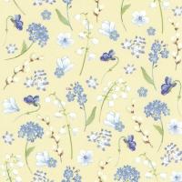 Servietten 33x33 cm - FLOWERS IN SPRING yellow