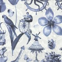 Servietten 33x33 cm - BLUE THINGS blue grey