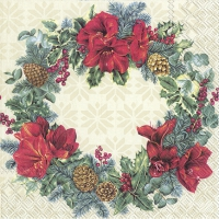 Servietten 33x33 cm - WREATH OF CHRISTMAS cream