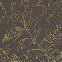 Servietten 33x33 cm - GOLDEN FLOWER brown