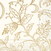 Servietten 33x33 cm - GOLDEN FLOWER cream gold